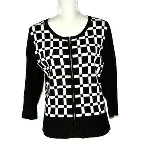 WHBM Cardigan Sz L Black White Checkered Zip Front